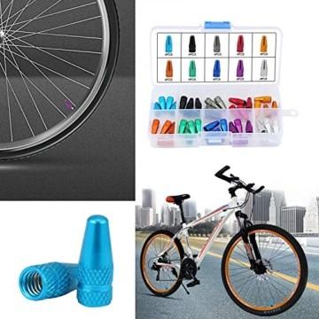TsunNee Französisch Fahrrad-Ventilkappen, Fahrrad Reifen Ventilkappen Abdeckung, Französisch Reifen Ventilkappen, 10 Farben, 40 Stück - 3