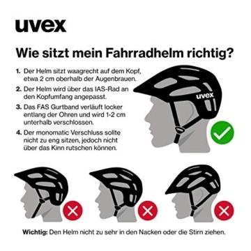 Uvex Unisex– Erwachsene, active Fahrradhelm, black shiny, 52-57 cm - 6