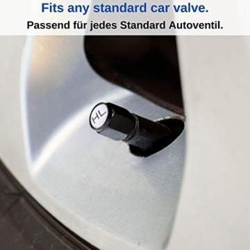 Ventilkappen aus Aluminium, 8 x beschriftete Auto-Ventilkappen mit Dichtung, Reifenmarkierer PKW, Luftventilkappen KFZ, Ventil Caps mit Beschriftung, Radmerkerset, Ventilkappen Auto beschriftet, 8X - 3