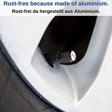 Ventilkappen aus Aluminium, 8 x beschriftete Auto-Ventilkappen mit Dichtung, Reifenmarkierer PKW, Luftventilkappen KFZ, Ventil Caps mit Beschriftung, Radmerkerset, Ventilkappen Auto beschriftet, 8X - 5