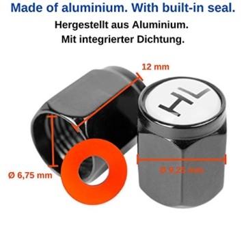 Ventilkappen aus Aluminium, 8 x beschriftete Auto-Ventilkappen mit Dichtung, Reifenmarkierer PKW, Luftventilkappen KFZ, Ventil Caps mit Beschriftung, Radmerkerset, Ventilkappen Auto beschriftet, 8X - 7