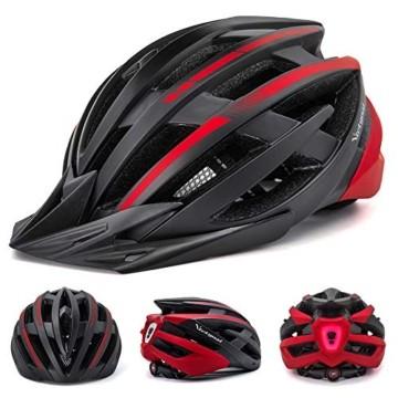 VICTGOAL Fahrradhelm mit Sicherheit LED Rear Light Mountain Bike Helm für Herren Damen Fahrradhelm mit Abnehmbares Visier Road Cycling Helm (Schwarz Rot) - 3