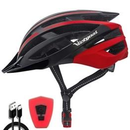 VICTGOAL Fahrradhelm mit Sicherheit LED Rear Light Mountain Bike Helm für Herren Damen Fahrradhelm mit Abnehmbares Visier Road Cycling Helm (Schwarz Rot) - 1