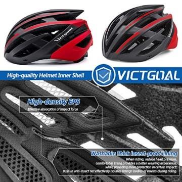 VICTGOAL Fahrradhelm mit Sicherheit LED Rear Light Mountain Bike Helm für Herren Damen Fahrradhelm mit Abnehmbares Visier Road Cycling Helm (Schwarz Rot) - 4