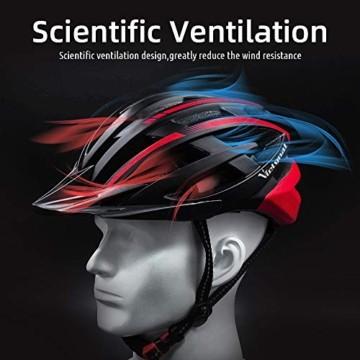 VICTGOAL Fahrradhelm mit Sicherheit LED Rear Light Mountain Bike Helm für Herren Damen Fahrradhelm mit Abnehmbares Visier Road Cycling Helm (Schwarz Rot) - 6
