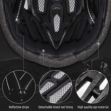 VICTGOAL Fahrradhelm mit Sicherheit LED Rear Light Mountain Bike Helm für Herren Damen Fahrradhelm mit Abnehmbares Visier Road Cycling Helm (Schwarz Rot) - 7