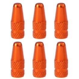 VORCOOL 6 Stücke Fahrrad Aluminiumlegierung Französisch Ventilkappen für MTB Rennrad Mountainbike Reifen Luftventilkappen Staubabdeckungen (Orange) - 1
