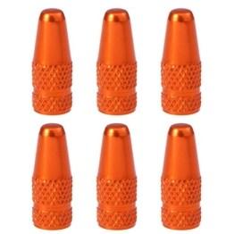 VOSAREA Ventilkappen Fahrrad Aluminiumlegierung Ventilkappen für MTB Rennrad Mountainbike Reifen Vorbauabdeckungen Staubabdeckungen (Orange) - 1