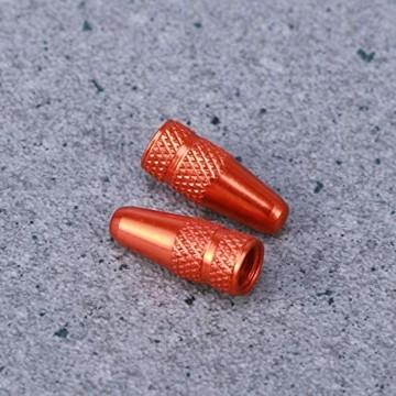 VOSAREA Ventilkappen Fahrrad Aluminiumlegierung Ventilkappen für MTB Rennrad Mountainbike Reifen Vorbauabdeckungen Staubabdeckungen (Orange) - 6