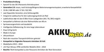 E-Bike Vision Power Pack Ersatzakku für Panasonic Antriebsystem 36V 17Ah 612 Wh + 4A Ladegerät AKKUman Set - 4