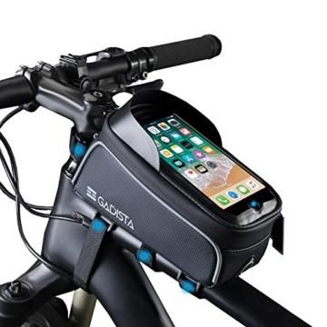 GADISTA® Frankreich, NEU Fahrrad Rahmentasche für Handy (6,5 Zoll) mit Touch ID-Handyhalterung Fahrrad Wasserdicht mit GPS - Fahrrad Tasche mit Stauraum Durch 4 Schnell Anzubringende Klettverschlüsse - 1