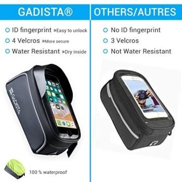 GADISTA® Frankreich, NEU Fahrrad Rahmentasche für Handy (6,5 Zoll) mit Touch ID-Handyhalterung Fahrrad Wasserdicht mit GPS - Fahrrad Tasche mit Stauraum Durch 4 Schnell Anzubringende Klettverschlüsse - 8