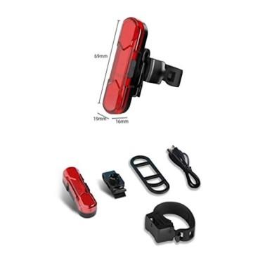 Geeke LED Fahrradrücklichter,StVZO Zugelassen IPX4 Wasserdicht Auflagbar Akku mit USB,hochintensive LED Rücklichter können an jedem Fahrrad oder Helm montiert Werden (2 Stück) - 2