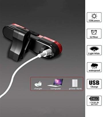 Geeke LED Fahrradrücklichter,StVZO Zugelassen IPX4 Wasserdicht Auflagbar Akku mit USB,hochintensive LED Rücklichter können an jedem Fahrrad oder Helm montiert Werden (2 Stück) - 3