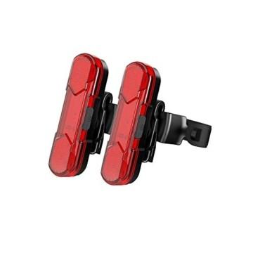 Geeke LED Fahrradrücklichter,StVZO Zugelassen IPX4 Wasserdicht Auflagbar Akku mit USB,hochintensive LED Rücklichter können an jedem Fahrrad oder Helm montiert Werden (2 Stück) - 1