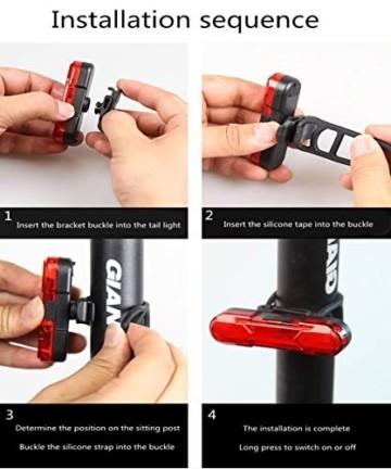 Geeke LED Fahrradrücklichter,StVZO Zugelassen IPX4 Wasserdicht Auflagbar Akku mit USB,hochintensive LED Rücklichter können an jedem Fahrrad oder Helm montiert Werden (2 Stück) - 6