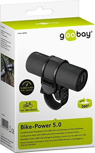 Goobay 58944 Bike Powerbank 5.0 mit 5000 mAh inklusiv Halterung zur Montage, Externer Akku Ladegerät für Samsung/HTC/Apple iPhone - 9