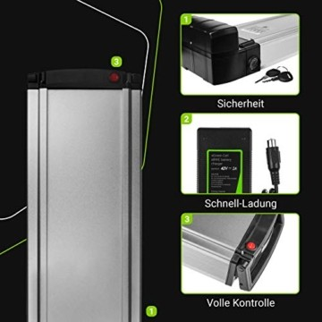 Green Cell® E-Bike Akku 36V 8.8Ah Li-Ion Fahrradakku Pedelec Rear Rack Gepäckträger Batterie mit Ladegerät - 3