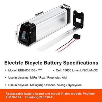 SEASON E-Bike Akku 36V 15Ah(555Wh) mit USB, Pedelec Ersatzbatterie für Aldi Prophete Mifa Samsung Phylion - 5