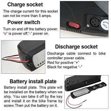 Sinbide E-Bike 48V E-Bike-Akku 10Ah / 13Ah / 17Ah Li-ION E-Bike-Fahrradakku mit Ladegerät und Diebstahlsicherung sowie USB-Anschluss (17Ah) - 7