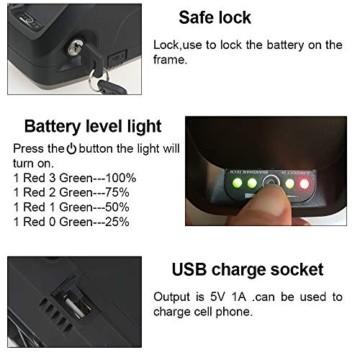 Sinbide Ebike Akku 48V 17Ah / 13Ah / 10Ah Ersatzakku Li-ion Akku mit Ladegerät + USB-Anschluss, Hailong Fahrradakku, Elektrofahrrad Batterie - 6