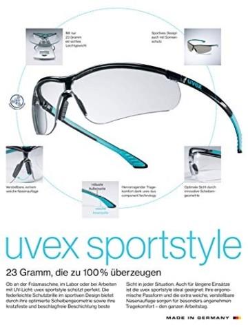 Uvex Sportstyle Schutzbrille - Braune Arbeitsbrille - Schwarz-Weiß - 2