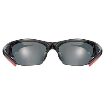 uvex Unisex– Erwachsene, blaze III Sportbrille, inkl. Wechselscheiben, black red mat/red, one size - 3