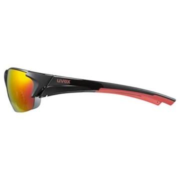 uvex Unisex– Erwachsene, blaze III Sportbrille, inkl. Wechselscheiben, black red mat/red, one size - 4