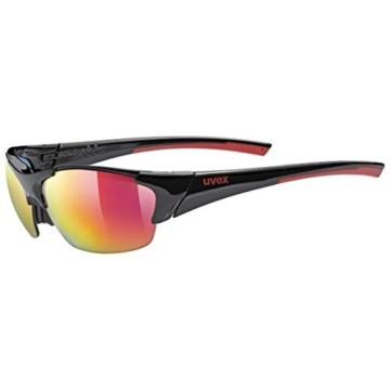 uvex Unisex– Erwachsene, blaze III Sportbrille, inkl. Wechselscheiben, black red mat/red, one size - 1