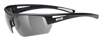 uvex Unisex– Erwachsene, gravic Sportbrille, inkl. Wechselscheiben, black mat/smoke, one size - 1