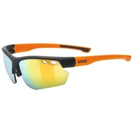 uvex Unisex– Erwachsene, sportstyle 115 Sportbrille, inkl. Wechselscheiben, black matt/orange, one size - 1