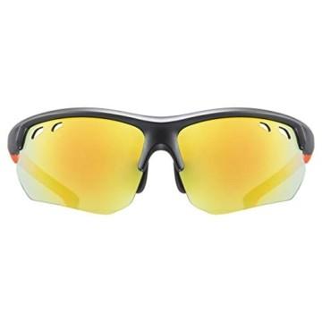 uvex Unisex– Erwachsene, sportstyle 115 Sportbrille, inkl. Wechselscheiben, black matt/orange, one size - 2