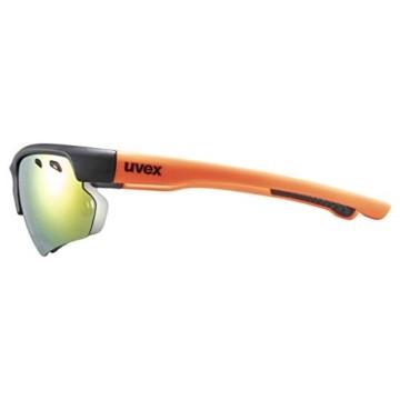 uvex Unisex– Erwachsene, sportstyle 115 Sportbrille, inkl. Wechselscheiben, black matt/orange, one size - 3