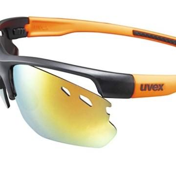 uvex Unisex– Erwachsene, sportstyle 115 Sportbrille, inkl. Wechselscheiben, black matt/orange, one size - 5