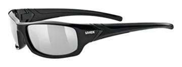 uvex Unisex– Erwachsene, sportstyle 211 Sportbrille, black/litemirror silver, one size - 1