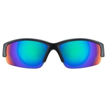 uvex Unisex– Erwachsene, sportstyle 215 Sportbrille, black mat green/green, one size - 2