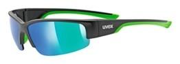 uvex Unisex– Erwachsene, sportstyle 215 Sportbrille, black mat green/green, one size - 1