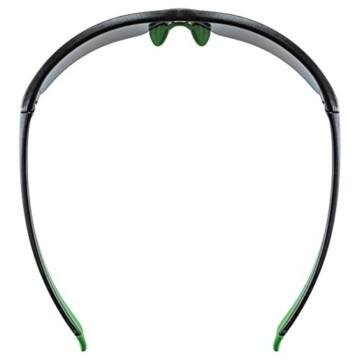 uvex Unisex– Erwachsene, sportstyle 215 Sportbrille, black mat green/green, one size - 8