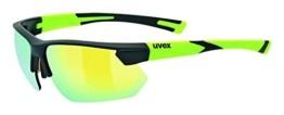uvex Unisex– Erwachsene, sportstyle 221 Sportbrille, black mat yellow/yellow, one size - 1
