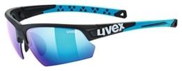 uvex Unisex– Erwachsene, sportstyle 224 Sportbrille, black mat blue/blue, one size - 1