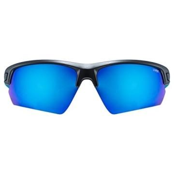 uvex Unisex– Erwachsene, sportstyle 224 Sportbrille, black mat blue/blue, one size - 2