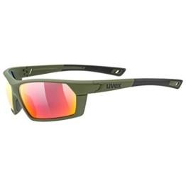 uvex Unisex– Erwachsene, sportstyle 225 Sportbrille, olive green/red, one size - 1
