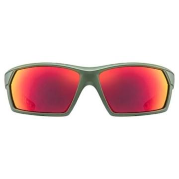 uvex Unisex– Erwachsene, sportstyle 225 Sportbrille, olive green/red, one size - 2
