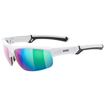 uvex Unisex– Erwachsene, sportstyle 226 Sportbrille, white/green, one size - 1