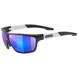 uvex Unisex– Erwachsene, sportstyle 706 Sportbrille, black mat white/blue, one size - 1