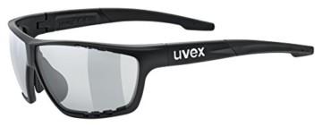 uvex Unisex– Erwachsene, sportstyle 706 V Sportbrille, selbsttönend, black mat/smoke, one size - 1