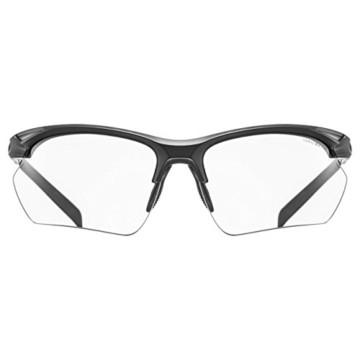 uvex Unisex– Erwachsene, sportstyle 802 V small Sportbrille, selbsttönend, schmale Passform, black mat/smoke, one size - 2