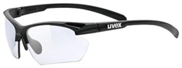 uvex Unisex– Erwachsene, sportstyle 802 V small Sportbrille, selbsttönend, schmale Passform, black mat/smoke, one size - 1