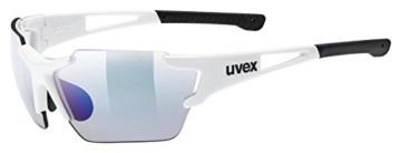 uvex Unisex– Erwachsene, sportstyle 803 race V small Sportbrille, selbsttönend, schmale Passform, white/blue, one size - 1