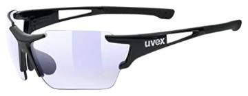 uvex Unisex– Erwachsene, sportstyle 803 race V Sportbrille, selbsttönend, black/blue, one size - 1